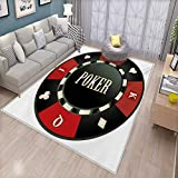 Poker Tournament Bath Mats Carpet Casino Chip with Poker Word in Center Rich Icon Card Suits Print Door Mats for Inside Non Slip Backing 4'7'' x5'4 Vermilion Army Green