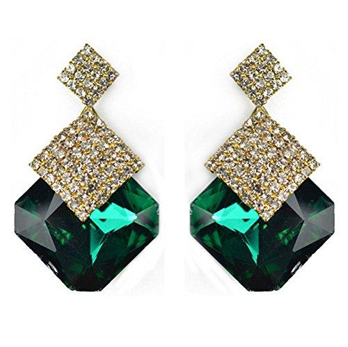 Sunne New Style Elegant Jewelry Classic Diamond Crystal Drop Earrings(Green) (Homemade Infant Princess Costume)