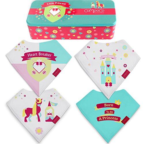 Baby Bandana Drool Bibs for Girls Drooling Absorbent and Teething, Pack of 4 Bib set with Tin Gift Box New Princess Tin
