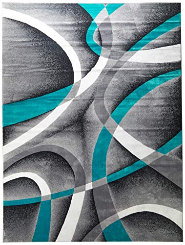Persian Area Rugs 8x11 2305 Turquoise White Swirls 7'10 x10'6 Modern Abstract Area Rug (Rug 6 X Area 11)