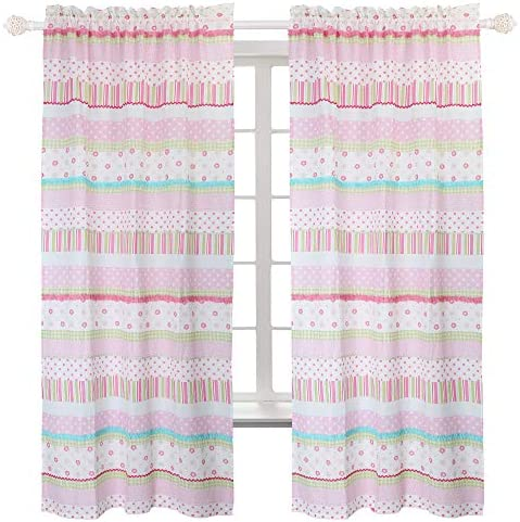 Cozy Line Home Fashions Pink Greta Pastel Polka Dot Window Curtain Panel Set of 2, 84 inch Long – 2 Piece