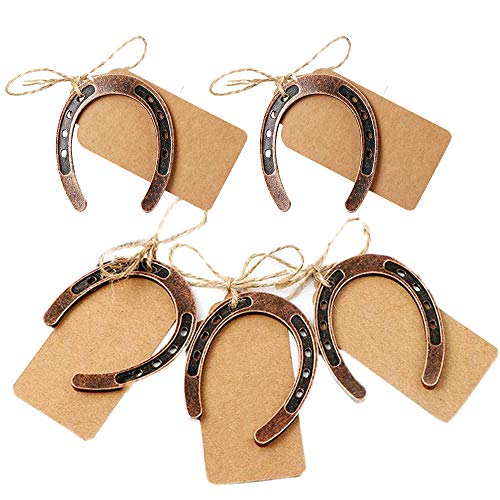 (Amajoy 24pcs Copper Lucky Horseshoes with Kraft Tag Rustic Wedding Favors Party Favor Vintage Wedding)