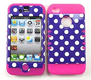 Cell-Attire Shockproof Hybrid Case For Apple IPhone 4, 4S, 4G and Stylus Pen, Hot Pink Soft Rubber Skin with Hard Cover (Polka Dots, Purple, White) AT&T, T-Mobile, Sprint, Verizon, Cricket, Virgin Mobile, Boost Mobile by Maris's Diary