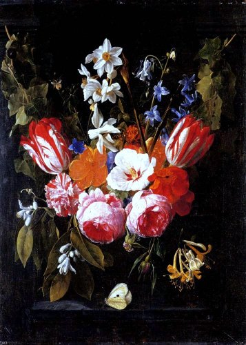 Nicolaes Van Veerendael A Swag of Tulips, Peonies, Carnations, Narcissi and other Flowers with a Butterfly in a Stone Niche - 18.1