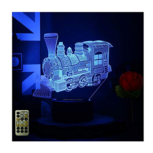 Room Train Decor - Toy Train Night Light for Kids Timer Christmas Gifts LED Table Lamp 3D Illusion Optical Car Steam Train Remote Birthday Gifts for Men Girls Boys Toddler Baby 7 Color Nursery Vintage Children