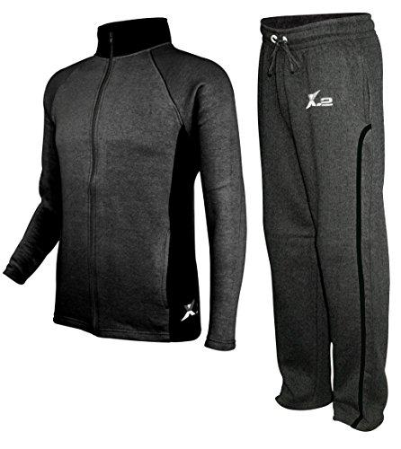 X-2 Mens Athletic Fleece Tracksuit Jogging Sweatsuit Activewear CharBlack S