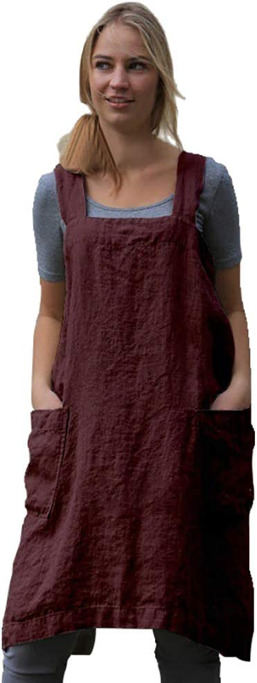 Women/'s Pinafore Square Apron Baking Cooking Gardening Works Cross Back Cotton//Linen Blend Dress with 2 Pockets