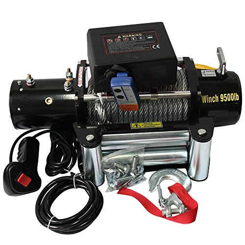 RACPLUS Classic 9500lbs 12v Electric Recovery Winch Truck SUV Trailer Wireless Remote Winches by RACPLUS (Image #1)