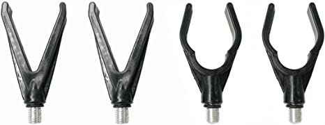 4Pcs Carp Fishing Rod Rest U&V Head Rod Butt Rests Gripper wThread M38 Fits All Rod Pod Holder Carp Coarse Fishing Accessory,Black Hard Plastic