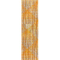 Modern Geometric 2x7 (23 x 73 Runner) Area Rug Casablanca Ombre Squares Boxes Yellow & Beige Vibrant Abstract Lines Squares Contemporary Thick Soft Plush