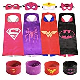 Honey Badger Brands Dress up Comic Cartoon Superhero Costume (Wonder Woman, Spidergirl, Batgirl + Supergirl with Snap Bracelets)