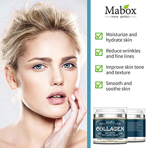 Mabox Collagen Cream - Anti Aging Face Moisturizer - Skin Care Cream for Face and Body with Retinol ,Hyaluronic Acid, Coconut Oil and Jojoba Oil - Best Day and Night Cream(1.7 Fl. Oz)