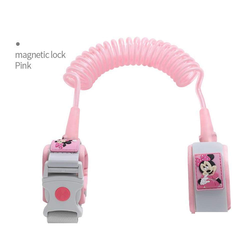 MQC Children's Traction Rope Anti-Lost Bracelet Anti-Lost Rope 1.8 Magnetic Lock Induction,Pink,1.8m