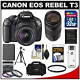 Canon EOS Rebel T3 12.2 MP Digital SLR Camera Body and EF-S 18-55mm IS II Lens with 75-300mm III Lens + 32GB Card + Battery + Case + Filter Set + Tripod + Cleaning and Accessory Kit, Best Gadgets