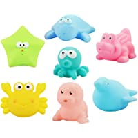 TOYANDONA 7 Pieces Cute Sea Animal Bath Toys Soft Plastic Baby Bathing Toy Taking Shower Plaything for Toddler