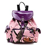 Pink Forest Pink Camo Ladies Backpack Purse, Purple