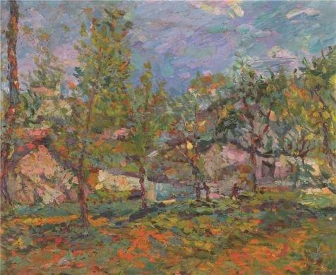 Oil painting ` Countryside Landscape Oil Painting `印刷ポリエステルキャンバスに、12x 15インチ/ 30x 37cm、最高のゲームルームアートワークとホームデコレーションとギフトはこのVividアート装飾プリントキャンバスの商品画像