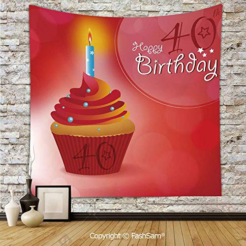 FashSam Tapestry Wall Hanging Sweet Cupcake with a Candlestick Dots and Stars Romantic Tapestries Dorm Living Room -
