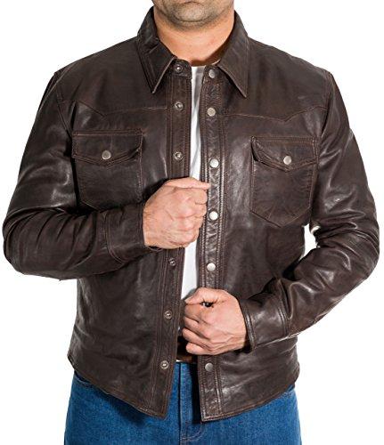 Giacca Trucker Camicia Marrone Vera Intelligente Equipaggiata Di Pelle Vite Prigioniera Tasto Jeans Uomo Del Stile ZZnWa0q1