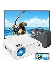 TOPTRO Mini Beamer, 7000 Lumen, WiFi Bluetooth Beamer Projector, Ondersteuning 1080P Full HD, met HiFi-luidspreker, compatibel met TV-stick / mobiele telefoon / laptop / DVD / PS4 / SD / AV (WHITE)