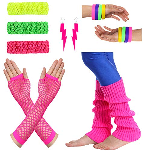 JustinCostume Women's 80s Outfit Accessories Neon Earrings Leg Warmers Gloves, A -