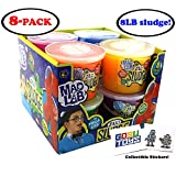 8 LB (Pound) MEGA Mad Lab Ultra Neon Silly Sludge Slime for Kids in Assorted Neon Colors (8 Pack - 1 lb Each) Educational Stress Relief Toy and Sensory Stimulation with 2 GosuToys Stickers