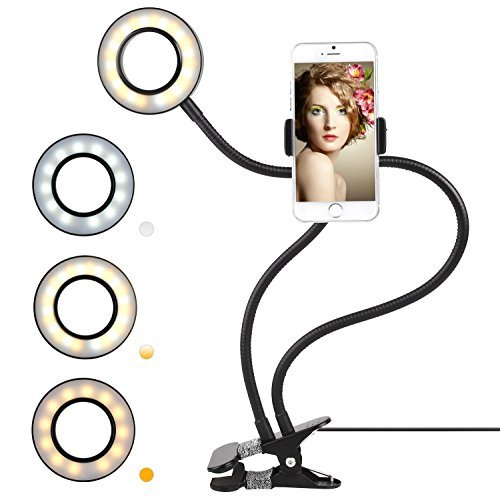 FIXKIT Selfie Ring Light with Cell Phone Holder for Live Stream, Dimmable 3-Light Mode, Lazy Bracket Desk Lamp LED Light for YouTube, Facebook, iPhone 7,6/Plus, Samsung, HTC, Huawei (Light Chat)