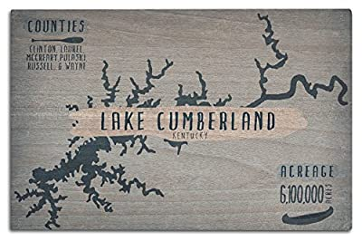 Lake Cumberland, Kentucky - Lake Essentials - Shape, Acreage and County (Wood Wall Sign, Wall Decor Ready to Hang)