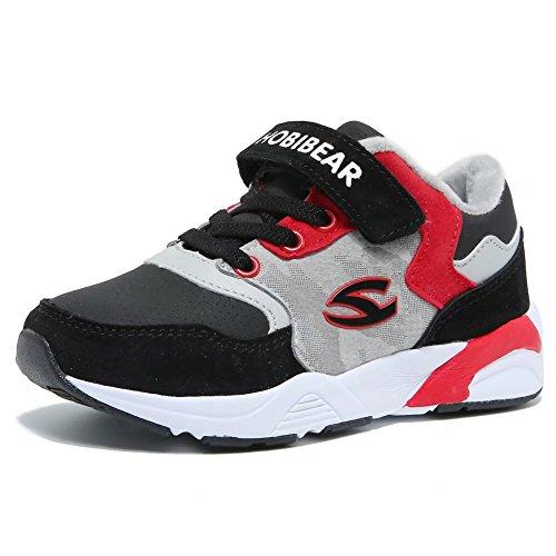 Kids Running Shoes Warm Durable Velcro Boys Sports Shoes by KALUQI(4, Black/Light Grey)
