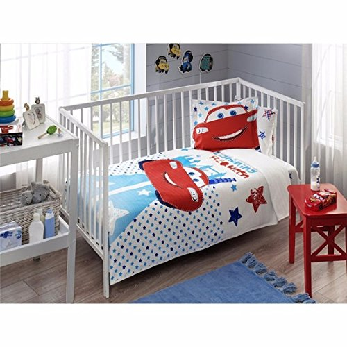 %100 Cotton Disney Cars Lightning Mc Queen Baby Coverlet Nursery Spread Pique Set cityof20