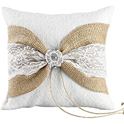 Ivy Lane Design Selina Collection Ring Pillow, 8-Inch by 8-Inch, White