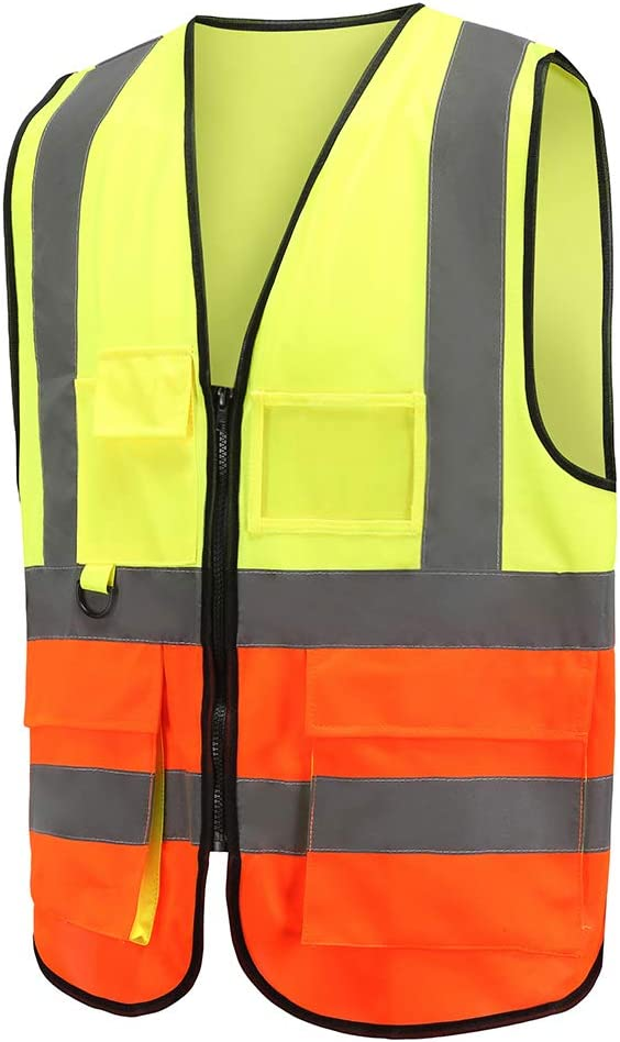 Safety Jacket for Outdoor Working A-SAFETY 360/° Visibility Yellow Vest Orange M