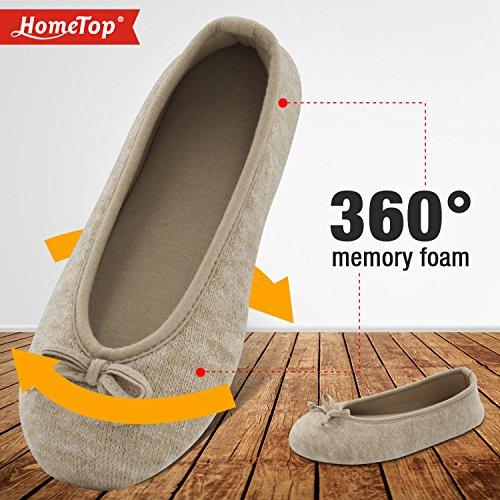 HomeTop - Zapatillas de estar por casa de algodón para mujer Beige