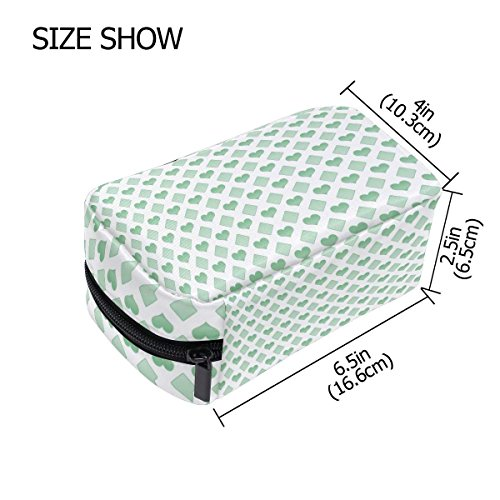 Green Love Makeup Bag Multi Compartment Pouch Storage Cosmetic Bags for Women Travel by Sunshine (Image #3)