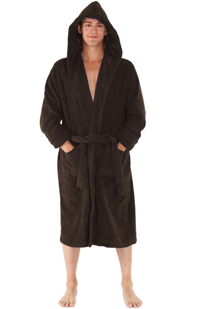 Alexander Del Rossa Mens Turkish Terry Cloth Robe, Thick Hooded Bathrobe A0105MEN-terry-bath-robe