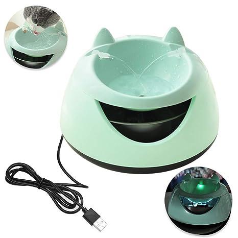 Petilleur Bebedero Automático Gatos y Perros con LED Luz Fuente de Agua para Gatos/Perros