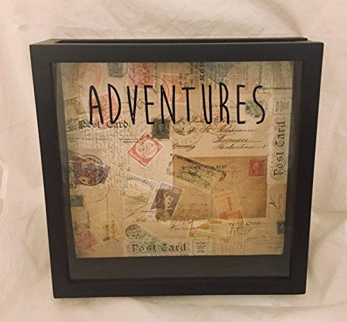 12x12 Ticket Stub Holder, Admit One Ticket Box, Souvenir Display, Wedding or Anniversary Gift (Adventures)