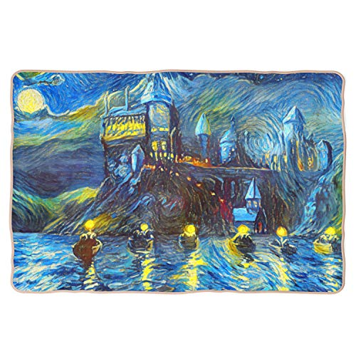 Westlake Art - Starry Night Castle Night Boats - Baby Sherpa Blankets - Abstract Artwork Soft Luxurious Fuzzy Home Bedroom Living Room Cozy Plush Bed Couch Nursery - 30x40 Inch