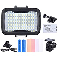 2pcs 2000mAh 18650 Battery, Andoer Ultra Bright 5500K 12W 1800LM 3 Mode Fill-in LED Diving Light 40m with Battery for GoPro Xiaomi Yi SJCAM Action Cam & for Canon Nikon Sony DSLR Camera