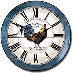 LOVE NILE Wall Clock 15 Round Wood Clock, Rustic Wall Clock Carolina Blue Rooster Pendulum Wooden Decorative Round Wall Clock Design Ultra Quiet Home Decor Battery Operated Hanging Clock