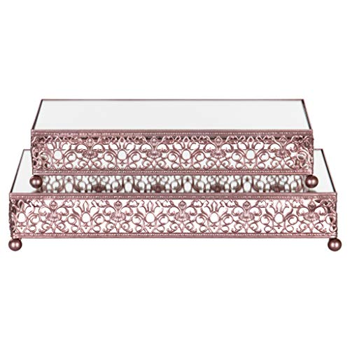 2-Piece Rectangular Mirror-Top Cake Stand Risers Dessert Tray Set (Rose Gold) (Cake Top Rose Wedding)