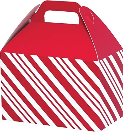 Christmas Gable Boxes - Large Gable Boxes for Christmas Gifts, Food, Cookies - Red Peppermint Stripe
