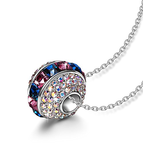 LADY COLOUR Charm Necklace for Girls Ferris Wheel Swarovski Crystals Bead Necklace Multicoloured Round Pendant Jewelry Birthday Gifts Idea for Women Girls Daughter Anniverysary Gift for Her Girlfriend -
