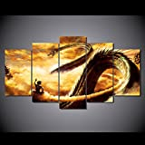 Goku And Shen Long Tam dragon ball-z anime print poster canvas in 5 pieces