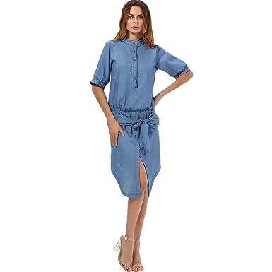 0bd5b690887 YAMEE Robe en jeans Femme Eté Chic Sexy grande taille Denim robe chemise  Eté décontractée 2018  Amazon.fr  Vêtements et accessoires