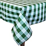 Ultimate Textile (3 Pack) 60 x 120-Inch Rectangular Polyester Gingham Checkered Tablecloth - for Picnic, Outdoor or Indoor Party use, Moss and White