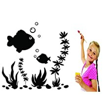 Design with Vinyl RAD 785 2 Underwater with Fishes Ocean Scene Kids Daycare School Mural Wall Decal, Black, 16 x 24""
