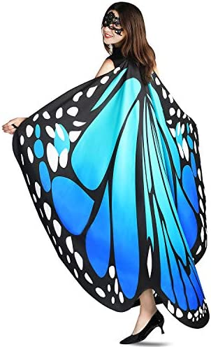 YXwin Halloween Costumes for Women Butterfly Wings Fairy Ladies Nymph Pixie Costume Accessory Blue Green