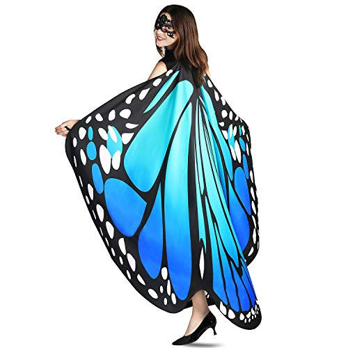 Adult Halloween Costume Patterns (YXwin Halloween Costumes for Women Butterfly Wings Bluegreen for Adult)