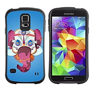 Hybrid Anti-Shock Bumper Case for Samsung Galaxy S5 / Beautiful Papercraft Elephant